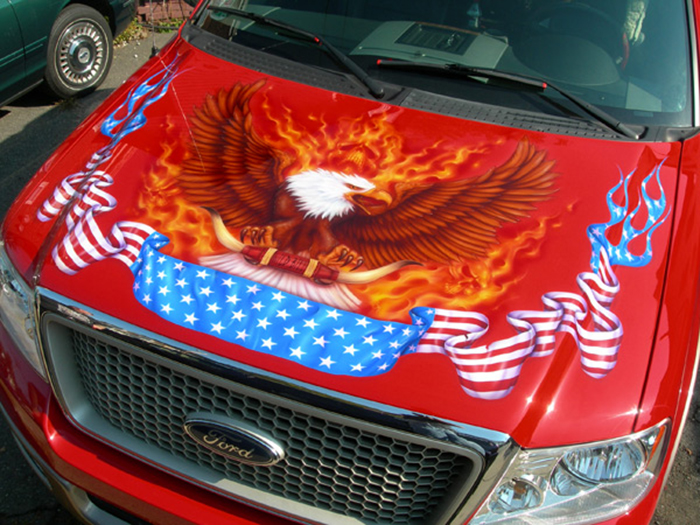 Airbrush murals hot rod flames classic car graphics amp for Airbrushed mural